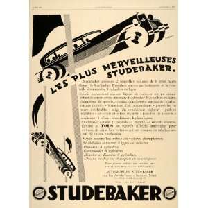 1929 Ad French Cars Studebaker Models Racing Art Deco   Original Print