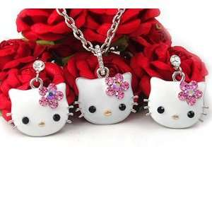 Kitty Cat Necklace Earring Set s42