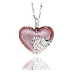 14k Diamond Pave Pink Mother of Pearl Heart Pendant