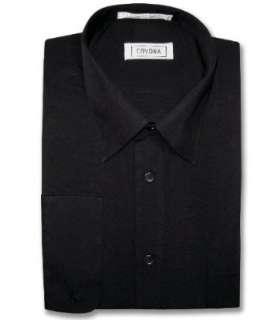 Mens Black Dress Shirt w/ Convertible Cuffs Clothing