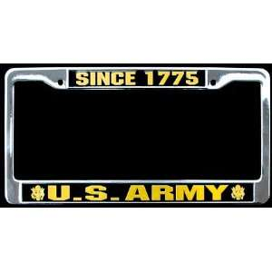 Metal Car License Plate Frame   Since 1775 Us Army Seal Black and Gold