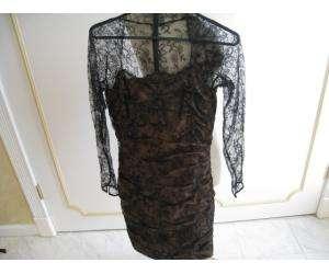CARMEN MARC VALVO black lace dress sz 4 GORGEOUS