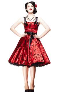 Tattoo Flocked Dress By Hell Bunny