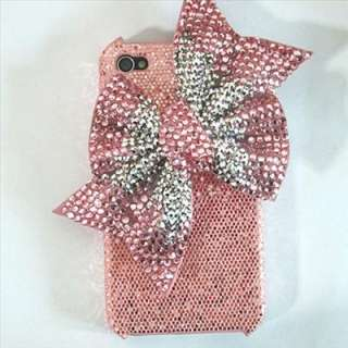 Bling bow Pink case fcover or iphone 4 4S P5