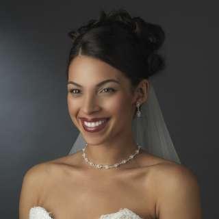Bridal Jewelry Set Austrian Crystal Rhinestone Pearl WT