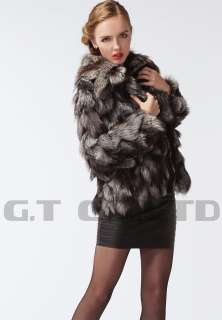 0203 women silver fox fur coat coats jacket jackets overcoat garment