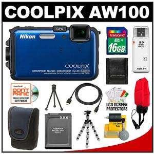 Nikon Coolpix AW100 Shock & Waterproof GPS Digital Camera (Blue) with