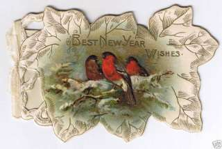 Year Wishes, Red Birds Die Cut Embossed Victorian Card 1900s