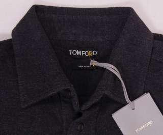 TOM FORD SHIRT $1050 CHARCOAL BLACK 4 BTN COTTON/CASHMERE SHIRT SM 38