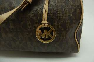 Michael Kors Brown Large Grayson Jet Set Monogram Satchel Handbag