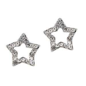 Crystal Star Stud Earring  Australian Crystal Pave Open Star Stud Post