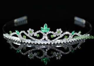Bridal Wedding Green Crystal Rhinestone Tiara T1202