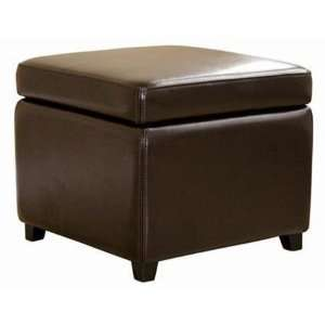 Baxton Studios   Dark Brown Full Leather Small Storage Cube Ottoman