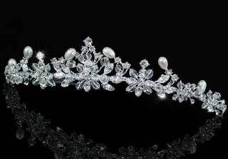 Bridal Ivory Pearl Handmade Tiara use Swarovski Crystal T1429