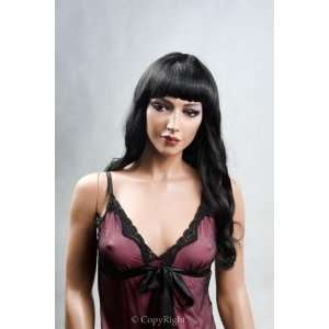 Female Mannequin Long Black Wig with Bangs & Lower Curls