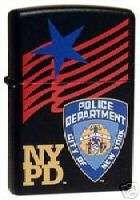 NYPD   Badge, Star & Flag Zippo Lighter (20487)