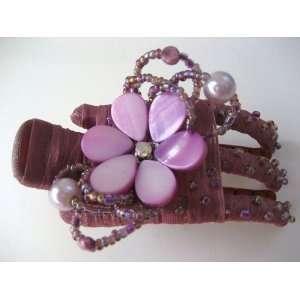 Magenta Purple Daisy Flower Seashell Hair Barrette Clip Jewelry