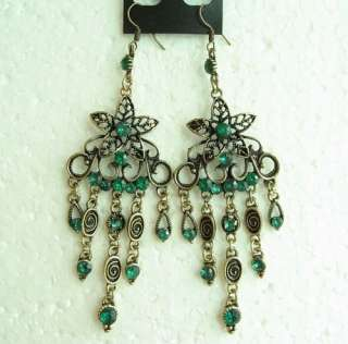 VINTAGE SWAROVSKI CRYSTAL DANGLE FRINGE HOOK EARRINGS 1648
