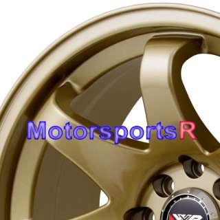 16 8 16x8 XXR 522 Gold Concave Rims Wheels Stance 4x100 90 95 00 05