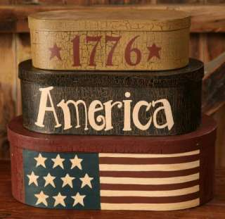 PC NESTING BOXES AMERICAN FLAG   1776 PATRIOTIC STORAGE BOX