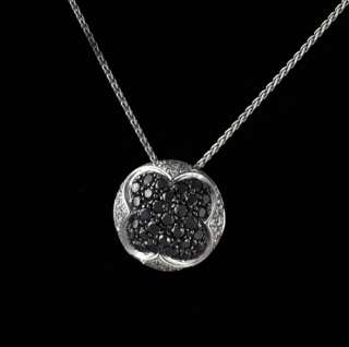 Salavetti 18k Gold Black Diamond Pendant Necklace