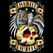 Live Free Die Free Tattoo T shirt, Classic Skull Eagle