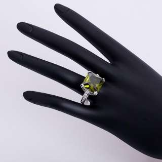 Square cz White Gold Plated Swarovsk Crystal Ring 18R