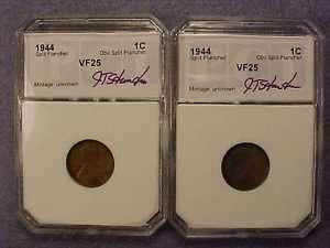 1944 Lincoln Cent Split Planchet Very Fine Condition