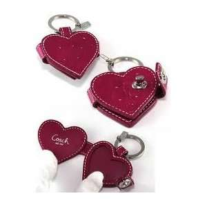 COACH EMBOSSED SIGNATURE RED PATENT LEATHER HEART SHAPED