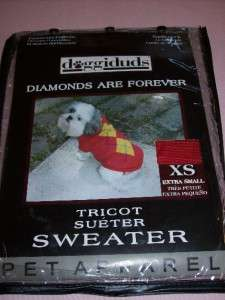 Pet Sweater Winter Clothing dog cat red XS 7   9 NEW