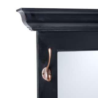 Black Wall Mirror Entryway Foyer w/ Hooks Wood HE2595