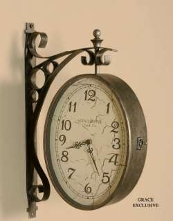 OLD WORLD 2 Sided TRAIN STATION WALL CLOCK
