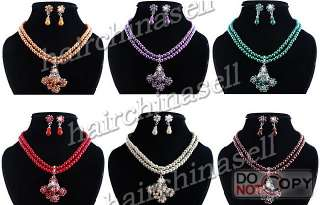 Rhinestone Alloy Imitate Pearl Necklace Earring 6sets