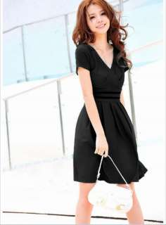 Korean Plus Size V Collar Pleat Dress New Skirt Women