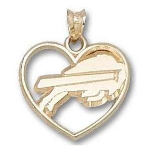 Buffalo Bills Solid 14K Gold Classic Buffalo Heart Pendant