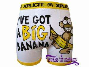 Mens White Xplicit I`ve Got A Big Banana Funny Boxer Shorts