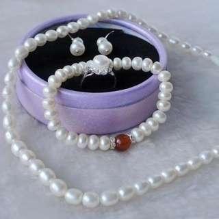 New Freshwater White Genuine Pearl Necklace Bracelet Earring Ring Set