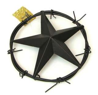 Metal Western Star In Barbed Wire Circle Wall Decor
