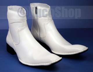 Fashion Men Dress Ankle Boots Shoes Zippered White Size 11