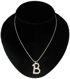 Initial Letter B Crystal Rhinestone Pendant Necklace
