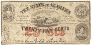 1863 State of Alabama 25 Cent Confederate Bank Note Currency