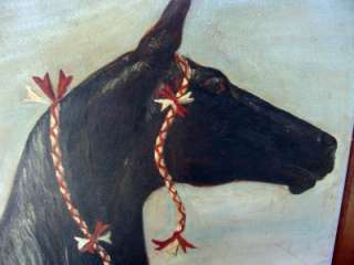 FOLK ART AMERICAN ANTIQUE HORSE OIL PAINTING 1900S OLD