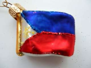 PHILIPPINES FLAG EUROPEAN GLASS CHRISTMAS TREE ORNAMENT