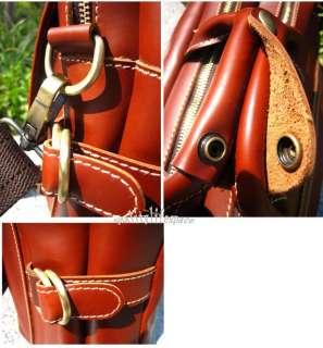 Cowhide Leather messenger bag Briefcases BAG Laptop Mens Brown