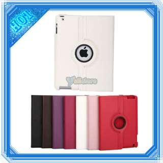 iPad 2 360 Magnetic Smart Cover Leather Case Rotating Stand White 1 in