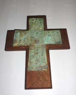 Mexican Folk Art Wooden Wood Cross Vintage style