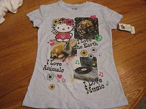 Girls youth Hello Kitty t shirt Kona Blue I Love the Earth Animals