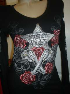 Western Rodeo Scrolls Wild West Roses Rhinestones Star Black Cowgirl T