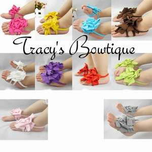 Girls Baby Infant Newborn Barefoot Sandals Shoes Booties w/ Flowers 0