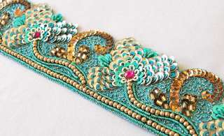 Hand Beaded, Sequin Trim. Rich & Sparkling. Sea Green